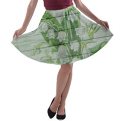 On Wood May Lily Of The Valley A Line Skater Skirt