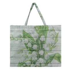 On Wood May Lily Of The Valley Zipper Large Tote Bag