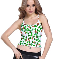 Leaves True Leaves Autumn Green Spaghetti Strap Bra Top
