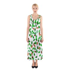 Leaves True Leaves Autumn Green Sleeveless Maxi Dress
