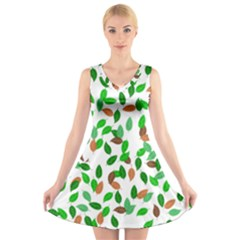 Leaves True Leaves Autumn Green V Neck Sleeveless Skater Dress