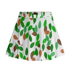 Leaves True Leaves Autumn Green Mini Flare Skirt