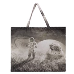 Astronaut Space Travel Space Zipper Large Tote Bag