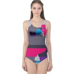 Strong Bear Animals Boxing Red Purple Grey One Piece Swimsuit