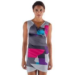 Strong Bear Animals Boxing Red Purple Grey Wrap Front Bodycon Dress