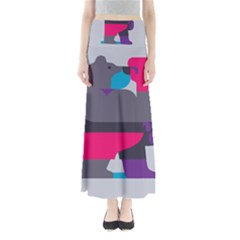 Strong Bear Animals Boxing Red Purple Grey Maxi Skirts