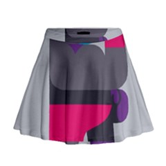 Strong Bear Animals Boxing Red Purple Grey Mini Flare Skirt