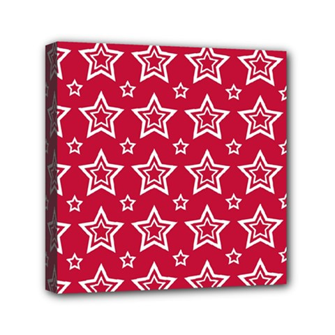 Star Red White Line Space Mini Canvas 6  x 6