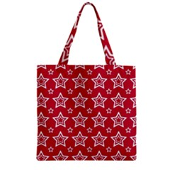 Star Red White Line Space Zipper Grocery Tote Bag