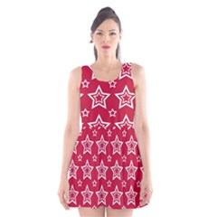 Star Red White Line Space Scoop Neck Skater Dress