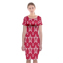 Star Red White Line Space Classic Short Sleeve Midi Dress