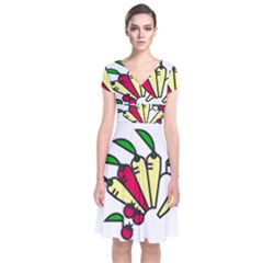 Tomatoes Carrots Short Sleeve Front Wrap Dress