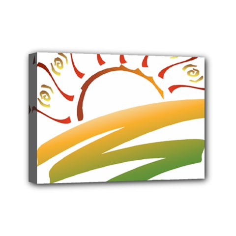 Sunset Spring Graphic Red Gold Orange Green Mini Canvas 7  x 5