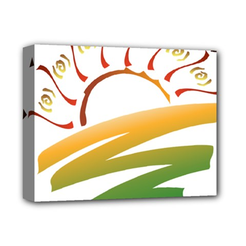 Sunset Spring Graphic Red Gold Orange Green Deluxe Canvas 14  x 11