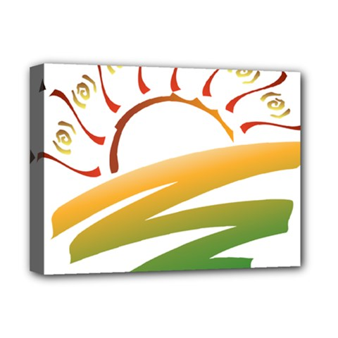 Sunset Spring Graphic Red Gold Orange Green Deluxe Canvas 16  x 12