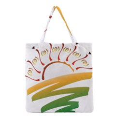 Sunset Spring Graphic Red Gold Orange Green Grocery Tote Bag