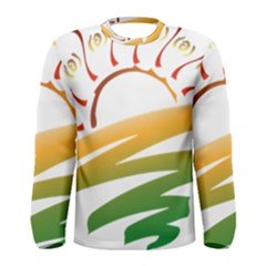 Sunset Spring Graphic Red Gold Orange Green Men s Long Sleeve Tee