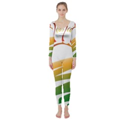 Sunset Spring Graphic Red Gold Orange Green Long Sleeve Catsuit