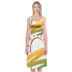 Sunset Spring Graphic Red Gold Orange Green Midi Sleeveless Dress