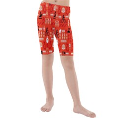Traditional Wayang Kids  Mid Length Swim Shorts