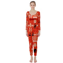 Traditional Wayang Long Sleeve Catsuit