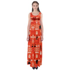 Traditional Wayang Empire Waist Maxi Dress