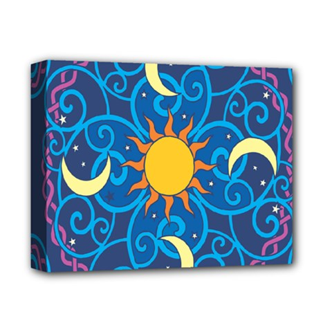 Sun Moon Star Space Purple Pink Blue Yellow Wave Deluxe Canvas 14  x 11
