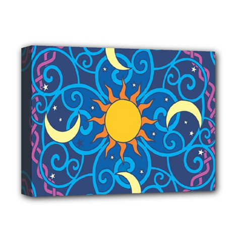 Sun Moon Star Space Purple Pink Blue Yellow Wave Deluxe Canvas 16  x 12