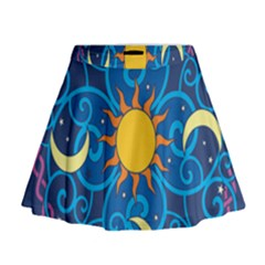 Sun Moon Star Space Purple Pink Blue Yellow Wave Mini Flare Skirt