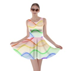 Twizzling Brain Waves Neon Wave Rainbow Color Pink Red Yellow Green Purple Blue Skater Dress