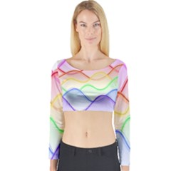 Twizzling Brain Waves Neon Wave Rainbow Color Pink Red Yellow Green Purple Blue Long Sleeve Crop Top