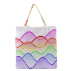 Twizzling Brain Waves Neon Wave Rainbow Color Pink Red Yellow Green Purple Blue Grocery Tote Bag
