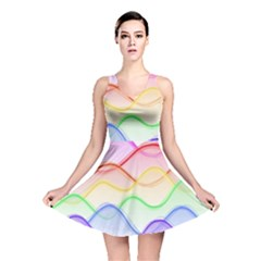 Twizzling Brain Waves Neon Wave Rainbow Color Pink Red Yellow Green Purple Blue Reversible Skater Dress