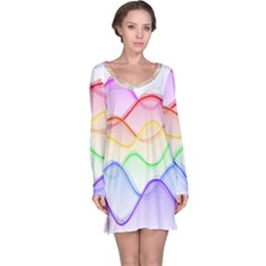 Twizzling Brain Waves Neon Wave Rainbow Color Pink Red Yellow Green Purple Blue Long Sleeve Nightdress