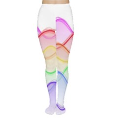 Twizzling Brain Waves Neon Wave Rainbow Color Pink Red Yellow Green Purple Blue Women s Tights