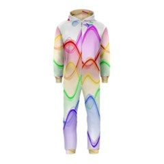 Twizzling Brain Waves Neon Wave Rainbow Color Pink Red Yellow Green Purple Blue Hooded Jumpsuit (Kids)