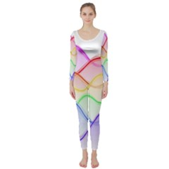 Twizzling Brain Waves Neon Wave Rainbow Color Pink Red Yellow Green Purple Blue Long Sleeve Catsuit