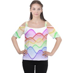 Twizzling Brain Waves Neon Wave Rainbow Color Pink Red Yellow Green Purple Blue Women s Cutout Shoulder Tee