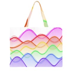 Twizzling Brain Waves Neon Wave Rainbow Color Pink Red Yellow Green Purple Blue Large Tote Bag