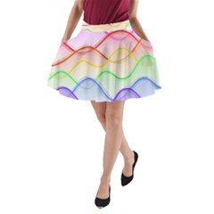 Twizzling Brain Waves Neon Wave Rainbow Color Pink Red Yellow Green Purple Blue A-Line Pocket Skirt