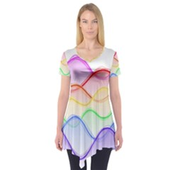 Twizzling Brain Waves Neon Wave Rainbow Color Pink Red Yellow Green Purple Blue Short Sleeve Tunic