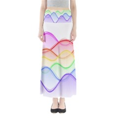Twizzling Brain Waves Neon Wave Rainbow Color Pink Red Yellow Green Purple Blue Maxi Skirts
