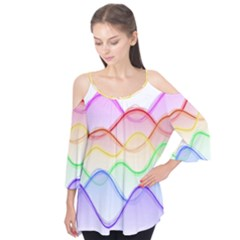 Twizzling Brain Waves Neon Wave Rainbow Color Pink Red Yellow Green Purple Blue Flutter Tees