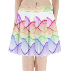 Twizzling Brain Waves Neon Wave Rainbow Color Pink Red Yellow Green Purple Blue Pleated Mini Skirt