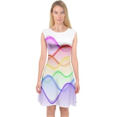 Twizzling Brain Waves Neon Wave Rainbow Color Pink Red Yellow Green Purple Blue Capsleeve Midi Dress