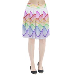 Twizzling Brain Waves Neon Wave Rainbow Color Pink Red Yellow Green Purple Blue Pleated Skirt