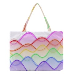 Twizzling Brain Waves Neon Wave Rainbow Color Pink Red Yellow Green Purple Blue Medium Tote Bag