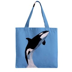 Whale Animals Sea Beach Blue Jump Illustrations Zipper Grocery Tote Bag