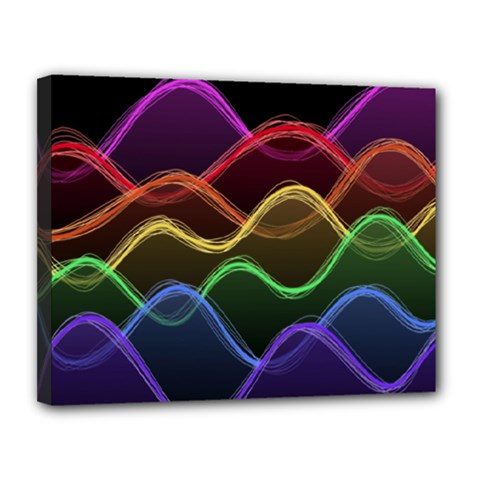 Twizzling Brain Waves Neon Wave Rainbow Color Pink Red Yellow Green Purple Blue Black Canvas 14  x 11