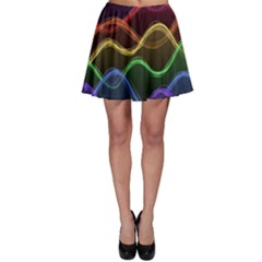 Twizzling Brain Waves Neon Wave Rainbow Color Pink Red Yellow Green Purple Blue Black Skater Skirt